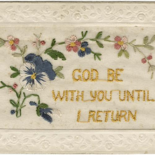 """Embroidered Post Card bearing the motto """"God Be With You Until I Return"""" with floral motif"""