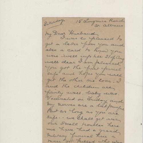 Front view of a letter written to Private William John Fairy from his wife Harriet
