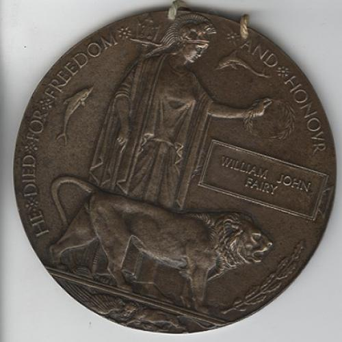 Private Fairy's 'Dead Man Penny', a memorial plaque given to families
