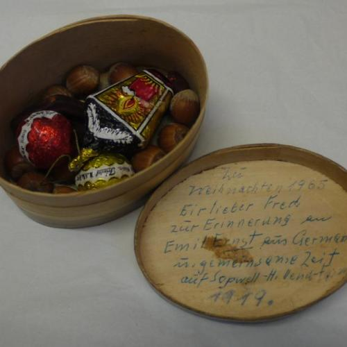 Small gift box containing chocolates and nuts
