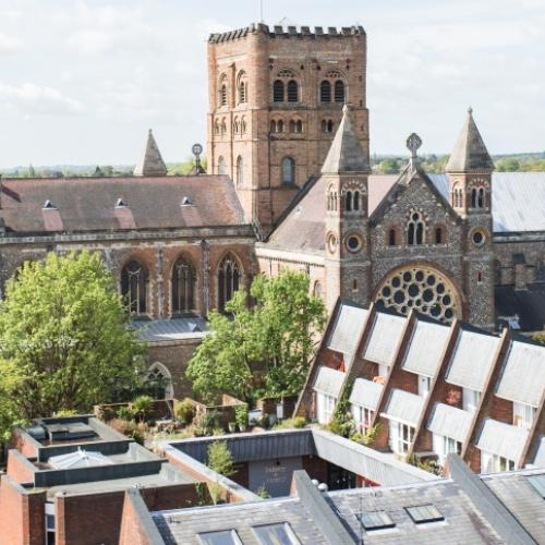 St Albans Cathedral - an aerial view