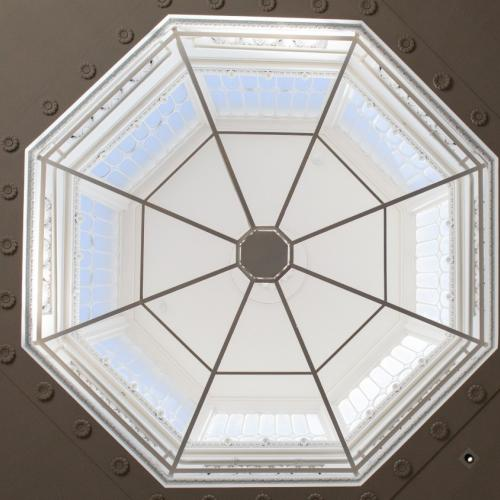 Courtroom ceiling in St Albans Museum + Gallery