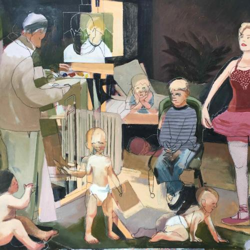 Daddy Painter, figurative painting showing a man, several toddlers, and a ballerina in a red dress