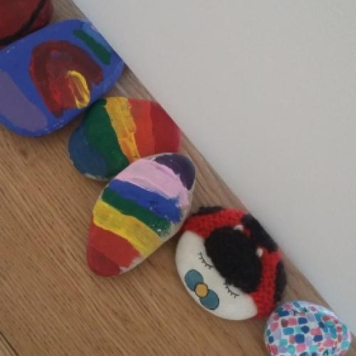 Painted rocks from the lockdown life rock snake