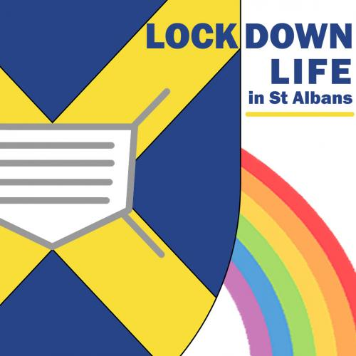 Lockdown Life in St Albans logo showing the St Albans shield with a face mask on it.