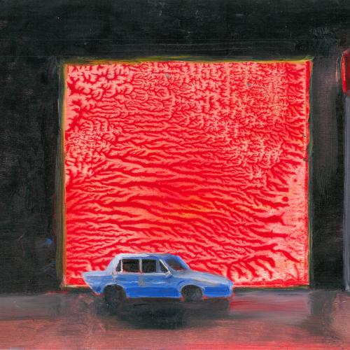 Car In The City, painting of a blue car in front of a large red screen