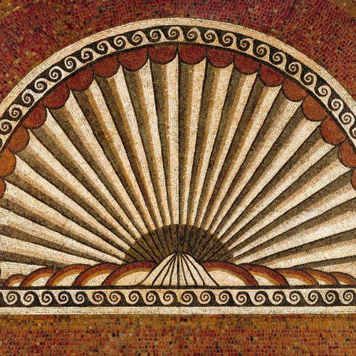 A Shell Shaped Mosaic Of Brown Black and Beige Tiles Found At Verulamium