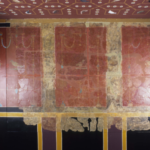 Roman painted wall plaster excavated from Verulamium. Now on display in the Verulamium Museum