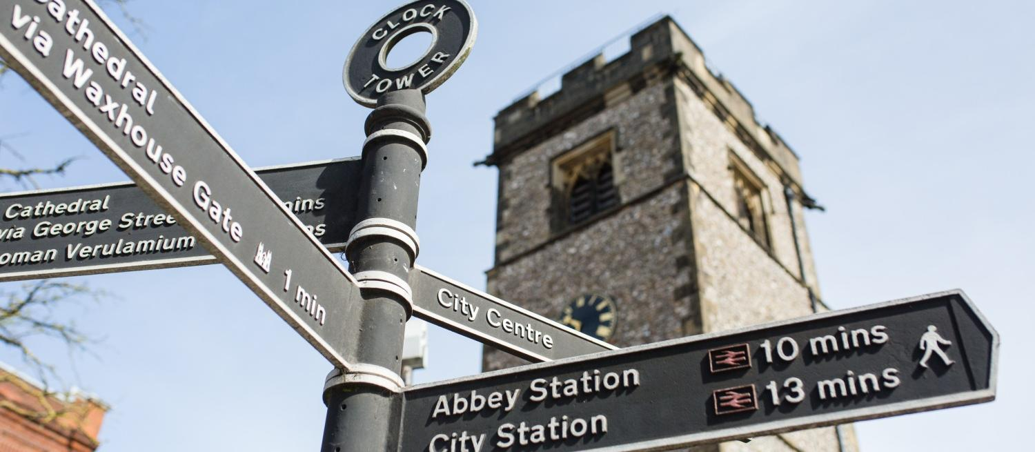Signposts in front of the Clock Tower