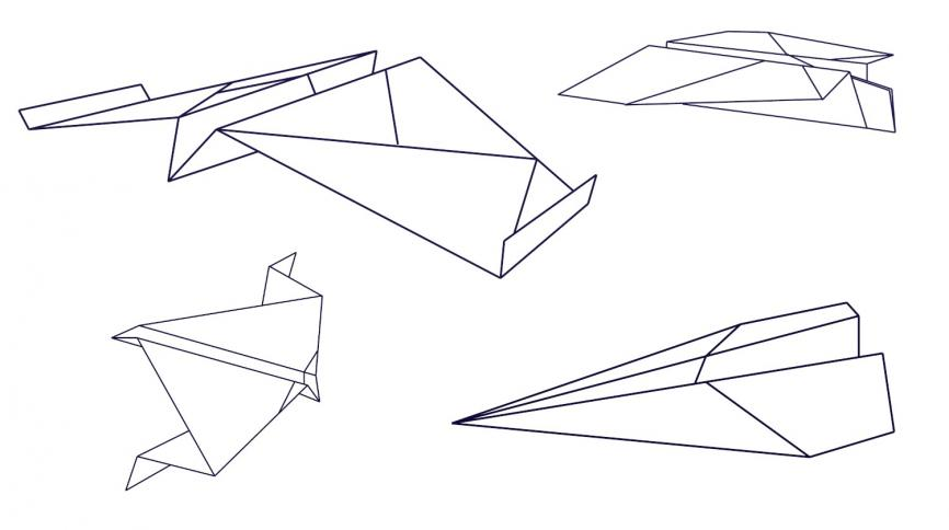 Black and white line drawings of paper planes
