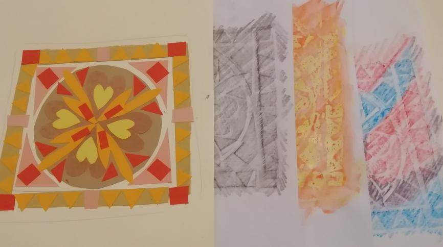 Paper mosaic and wax rubbings