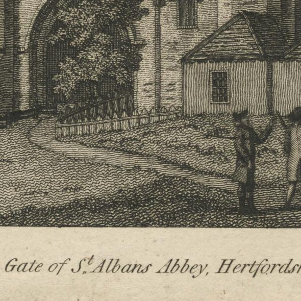 Etching of St Albans Abbey Gateway, 1787