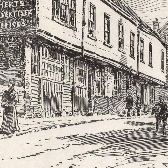Illustration by F.G.Kitton, 1899 of The Old Moote Hall, from Upper Dagnall Street towards Market Place