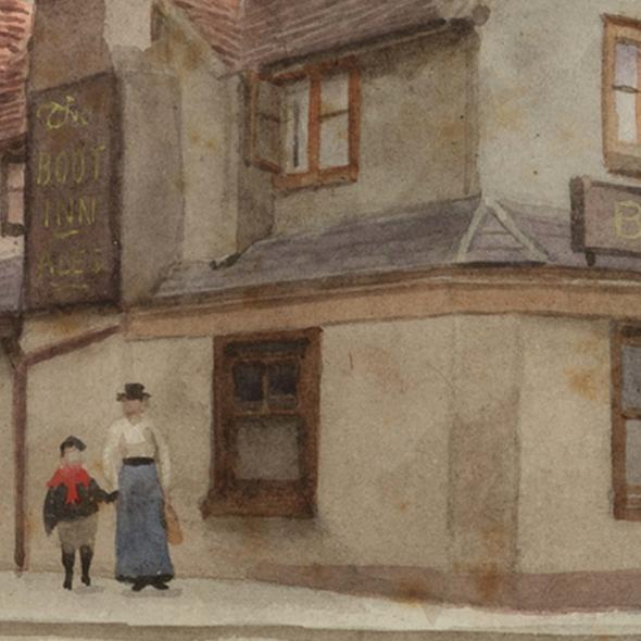 Watercolour by E. A. Phipson of The Boot Inn, late C19th