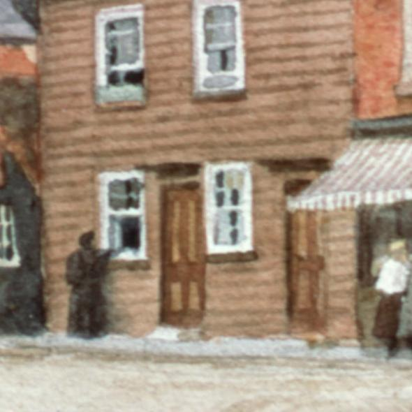 Watercolour of the Cock Inn, from corner of Hatfield Rd, 1902