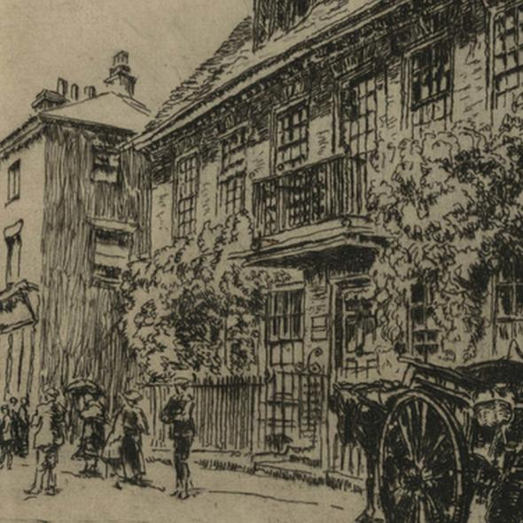 The building with the balcony to the right is known as 'The Mansion'. Etching dated 1915