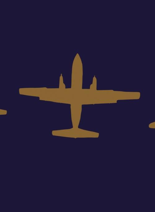 gold silhouettes of Jetstream, Hermes and Hyderabad on navy background