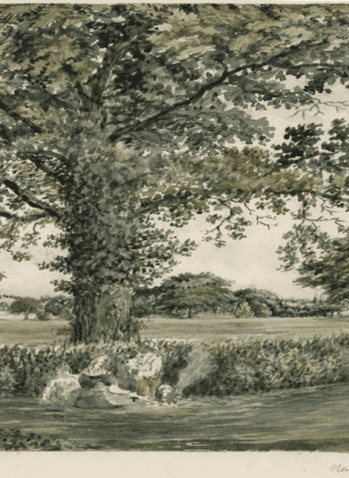 Rural scene with figures seated under central tree and small lane to the right.