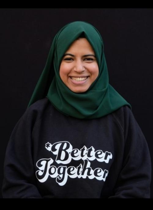 portrait of a woman wearing a jumper saying Better Together
